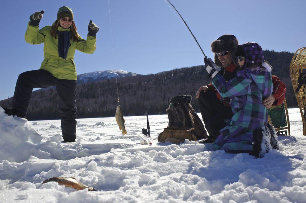Mt. Carleton Provincial Park winter in New Brunswick Canada ice fishing